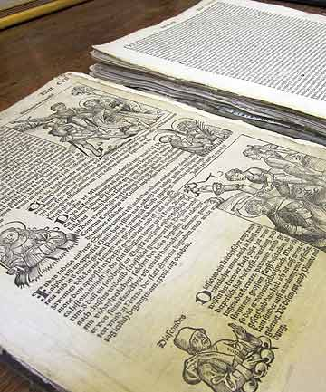 A copy of the Nuremberg Chronicle published in 1493 is displayed at book shop in Salt Lake City.