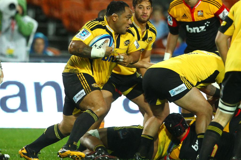 Neemia Tialata in action for the Hurricanes against the Chiefs.