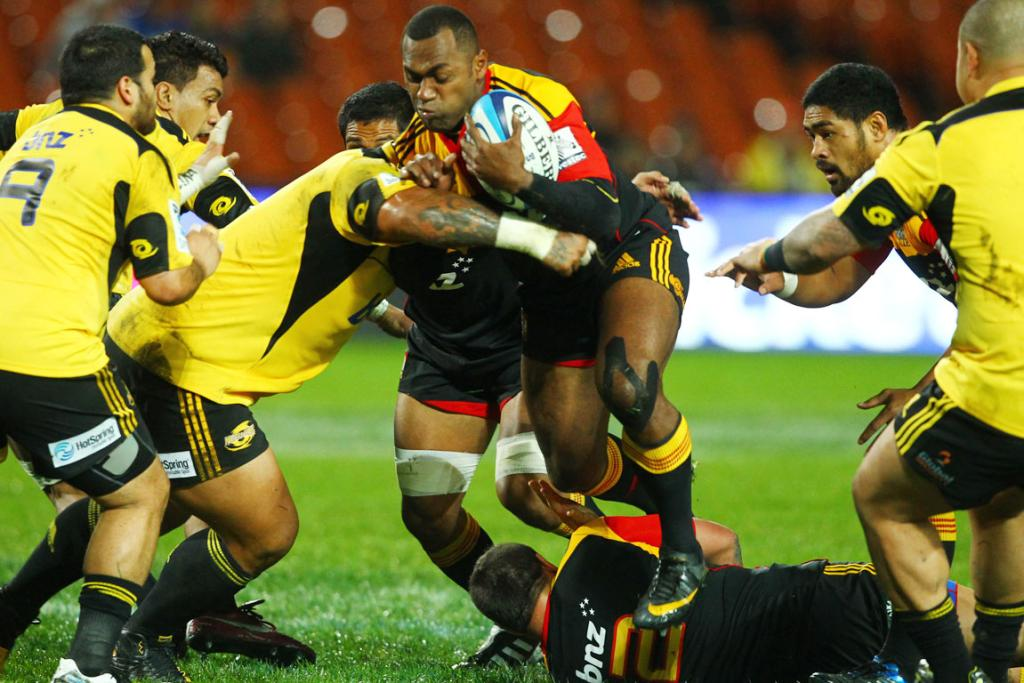 Sitiveni Sivivatu in action for the Chiefs against the Hurricanes.