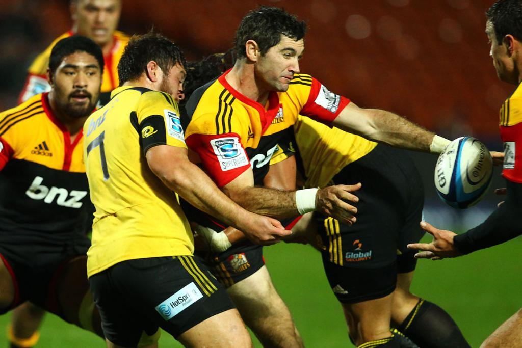 Stephen Donald in action for the Chiefs against the Hurricanes.