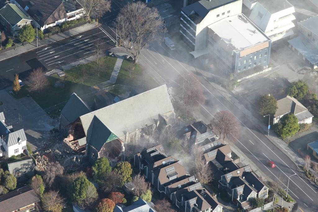 Dust rises from around St Lukes on the corner of Manchester and Kilmore streets.
