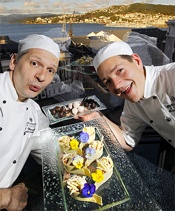 SWEET TEMPTATIONS: Chefs Ed Weicherding and Andreas Reinhardt  with some of their chocolate creations  for the first New Zealand Chocolate Festival.