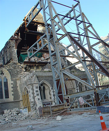 WHERE TO NOW?: The Christ Church Cathedral suffered more damage on Monday and its future is now uncertain.