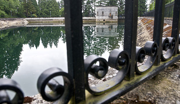 This spot at the Mt Tabor number 1 reservoir s where a 21-year-old man was seen on surveillance video urinating into the reservoir in Portland, Oregon.