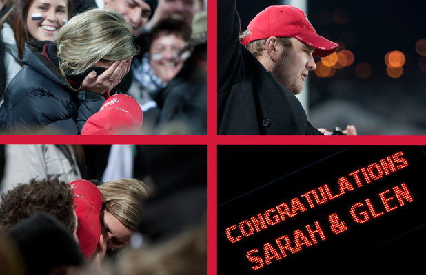 A montage of photographs shows the proposal to Sarah Kate at the Crusaders v Sharks Super Rugby game at Trafalgar Park on Saturday night.