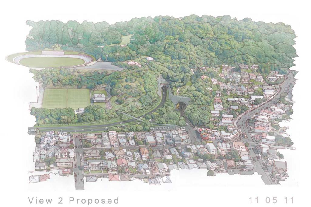 The proposed view of Mount Victoria tunnel, from the Hataitai side.