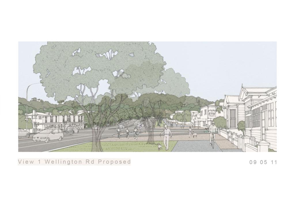 The proposed view of Wellington Road.