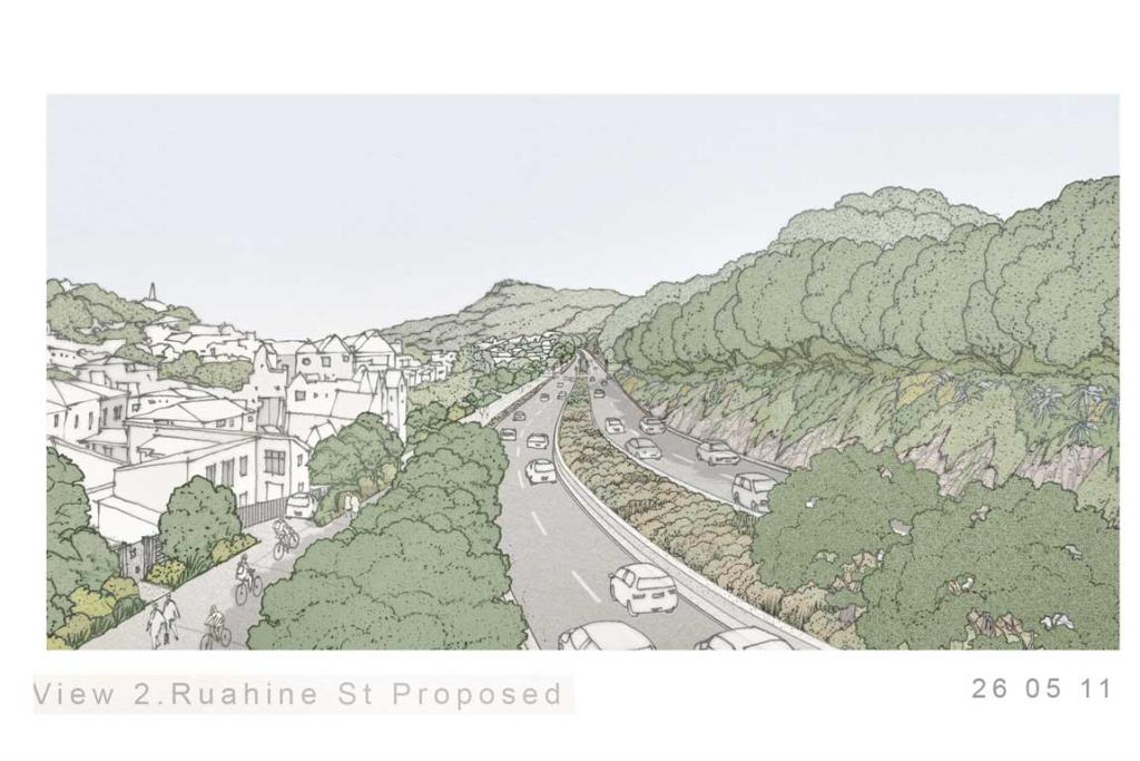 The proposed view of Ruahine Street.