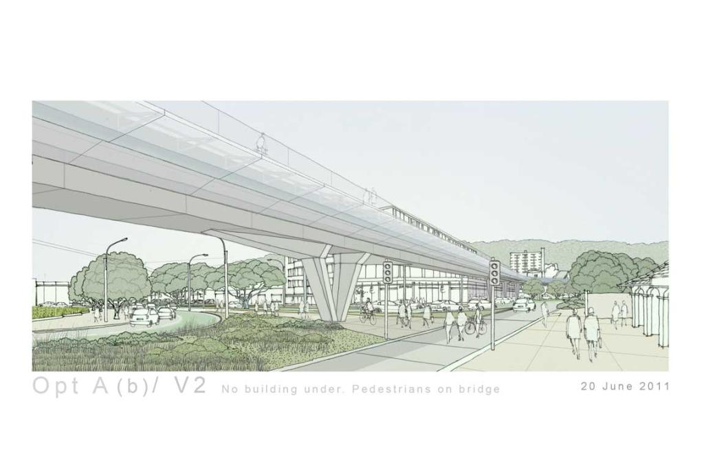 A proposal for near the Basin Reserve (entrance on the right) with no building beneath the flyover.