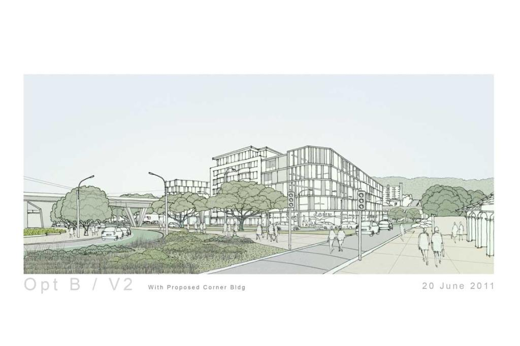 A proposed view of near the Basin Reserve (entrance on the right) showing a proposed corner building.