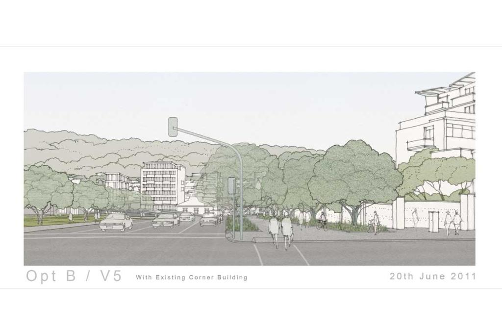 A proposed view of the corner of Tory and Buckle Street.