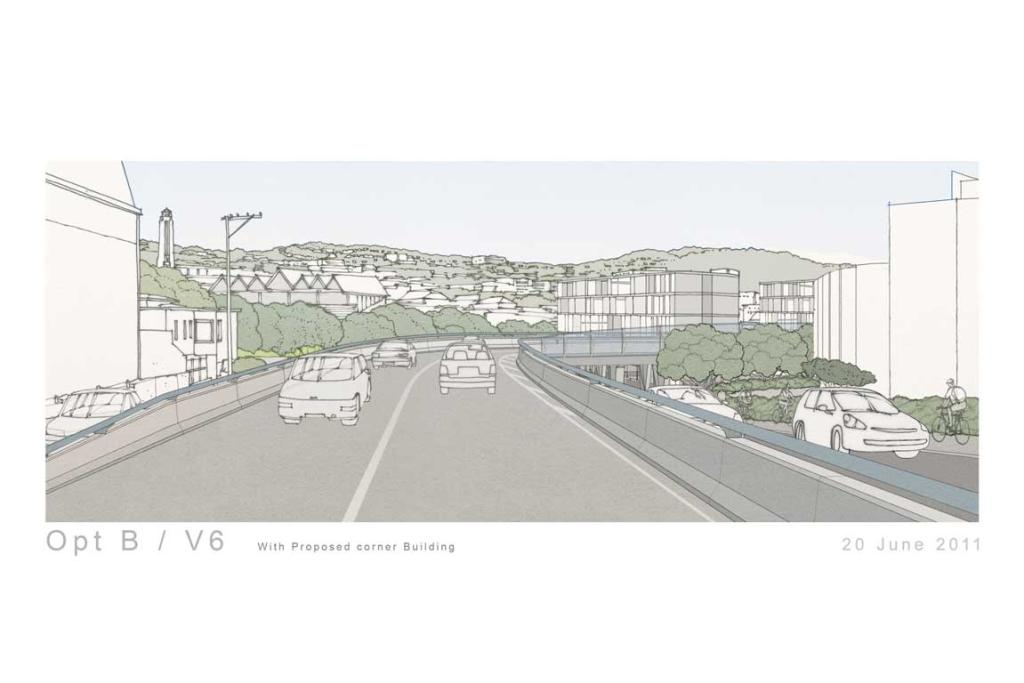 A proposed view from Mount Victoria tunnel with a new corner building.