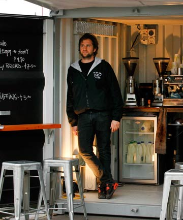 COFFEE IN THE COLD: Barista James Bagrie has set up his business, which used to be in The Shades Arcade, in a shipping container.