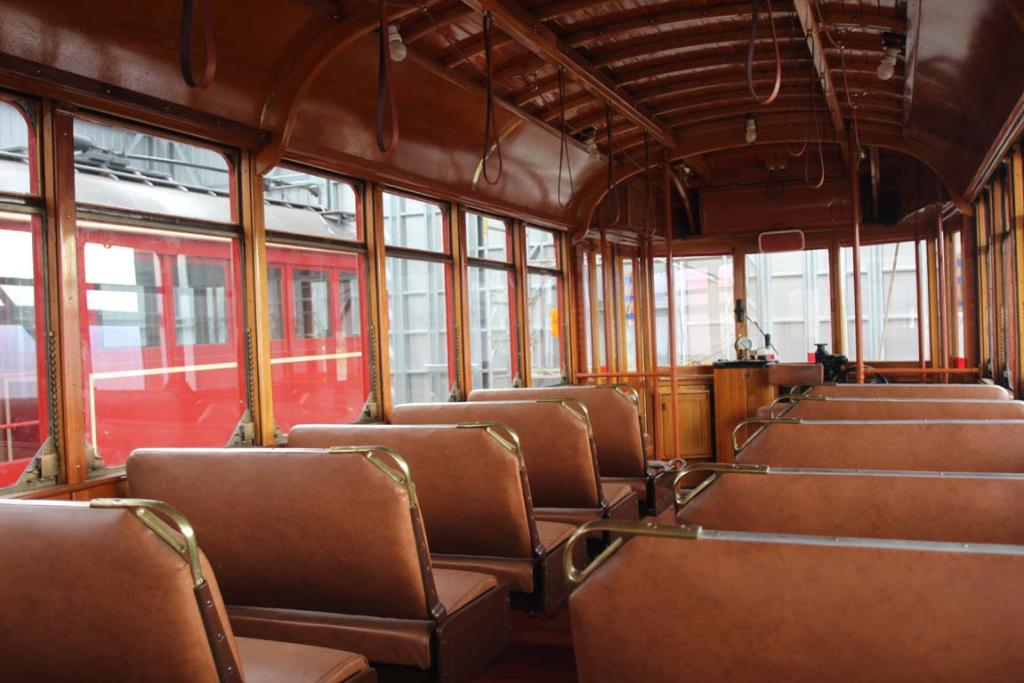 TRAM LINES: The interior of one of the trams brought over from Australia to run the Rugby World Cup tram routes.