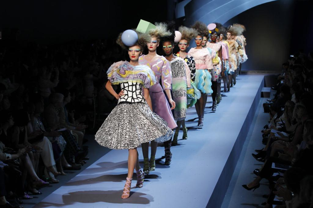 Models walk the runway during the Christian Dior Haute Couture Fall/Winter 2011/2012 show as part of Paris Fashion Week at Musee Rodin.