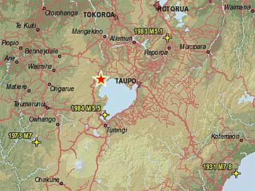 A map showing where the quake was centred, about 30km west of Taupo.