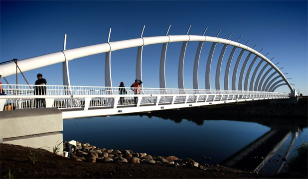 FAMOUS FOOTBRIDGE: New Plymouth's Te Rewa Rewa bridge has scooped the international footbridge award at a ceremony in Poland this morning.