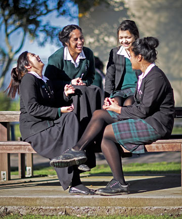 Students from St Dominic's College in West Auckland, from left, Claire Caballes, Sivi Brown, Sam Richards and Janet Tekori, talk about body image and how they try not to judge on body size.