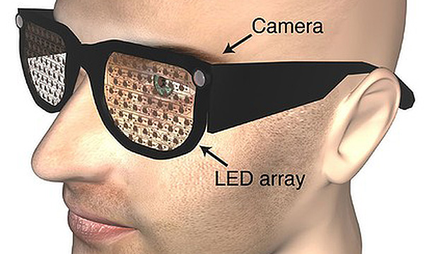 SEEING EYE: LEDs inside the lenses light up in a pattern, alerting the wearer to an obstacle or object ahead.
