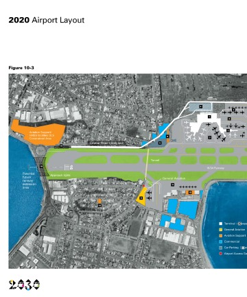 Wellington Airport's blueprint for a longer runway by 2030, with  a 100-metre extension to the north and 500 metres to the south.