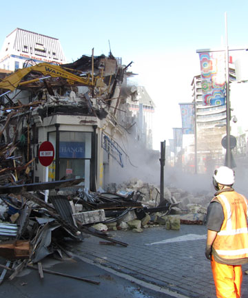 RAZED: The Hanafins building on the corner of Hereford and High streets is demolished last week.