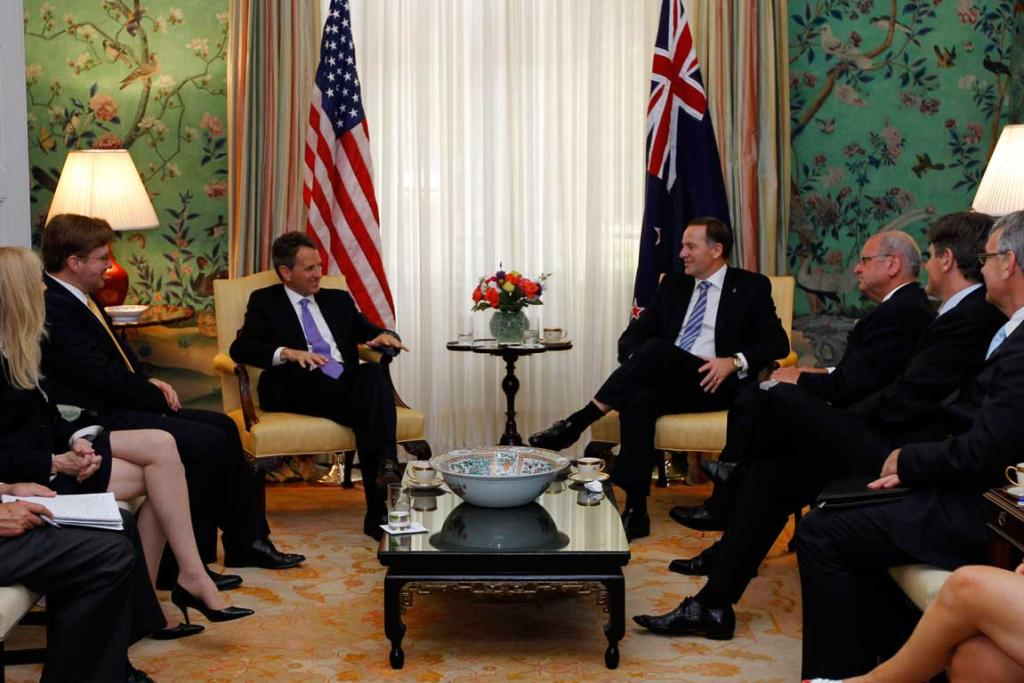 US Secretary of the Treasury Timothy Geithner, left centre, meets with Prime Minister John Key, right center, at Blair House in Washington.
