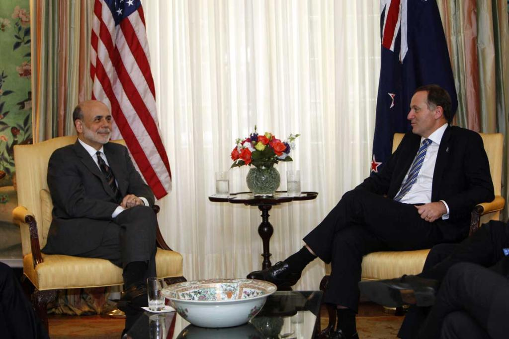 US Federal Reserve chairman Ben Bernanke, left, meets with Prime Minister John Key, right, at Blair House in Washington.