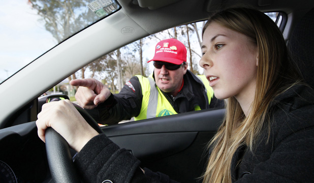 Catherine Leet getting her first driving lessons.