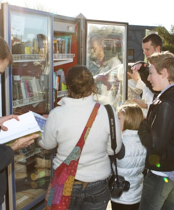 The book exchange fridge will remain on the site on the corner of Kilmore and Barbadoes Streets for two to three months.
