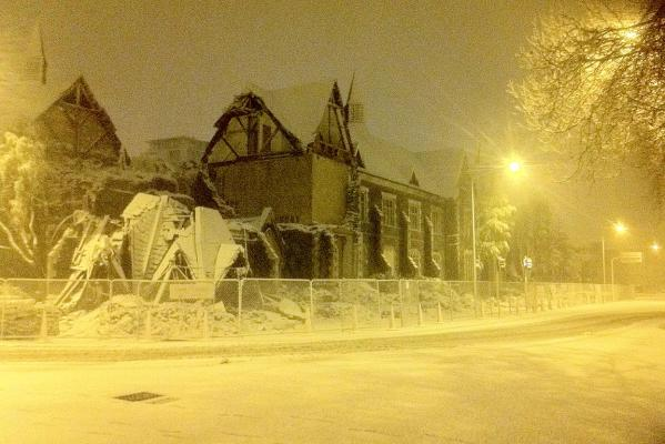 Snow in central Christchurch.