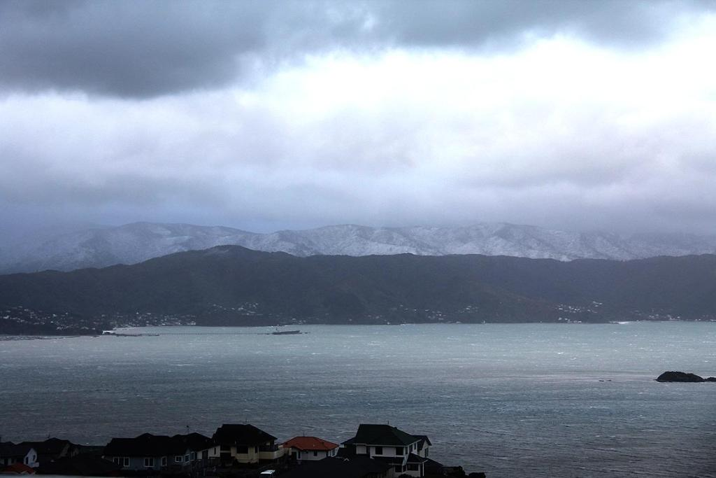 Snow in the Rimutakas behind Eastbourne, Wellington.