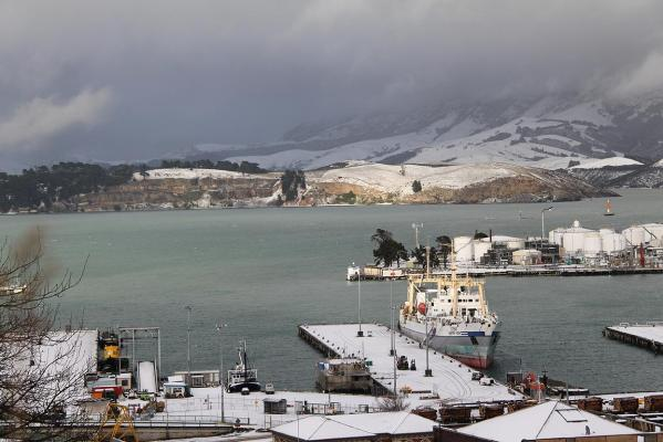 Snow in Lyttelton, Canterbury.