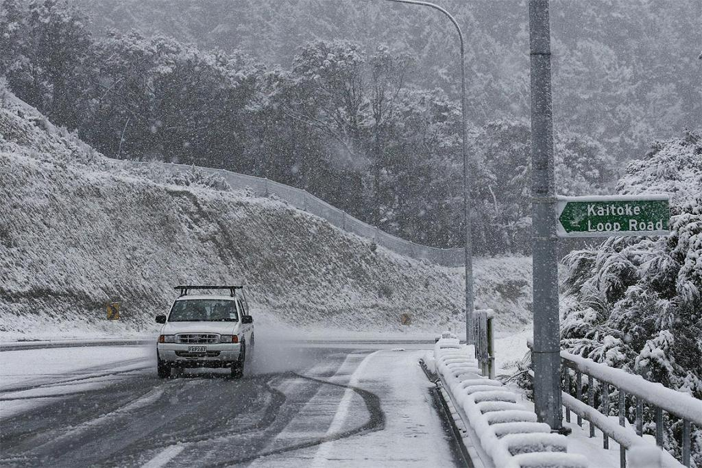 Snow closed the road near the Kaitoke Loop, north of Wellington.