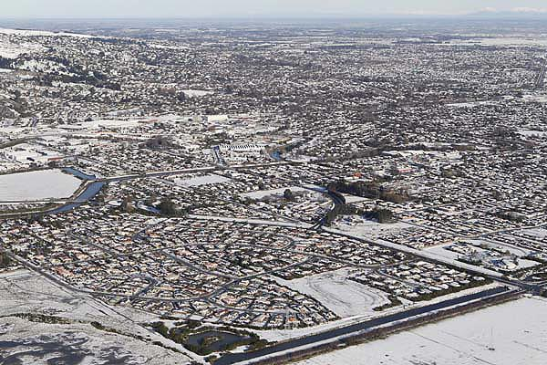 Aerial photo of Christchurch after Monday's snowfall.