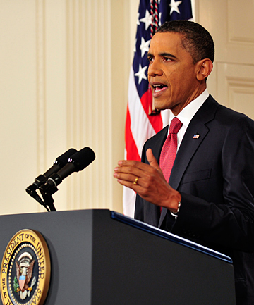 US President Barack Obama speaks at the White House on the approaching debt limit deadline.