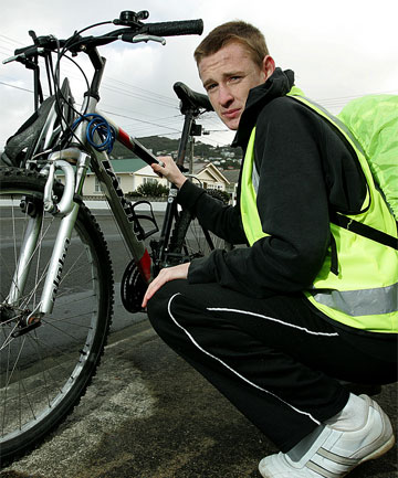 STILL INVISIBLE: Ryan Crossman, 16, has been hit twice while riding his bike and wearing high-visibility gear.