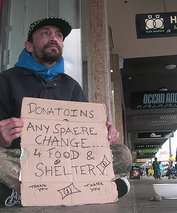 GIMME SHELTER: Tom Cliffe, who begs in the centre of Palmerston North, says beggars just do what they must to survive.