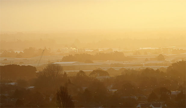 AIR POLLUTION: Smog over Christchurch at sunset from Cashmere.