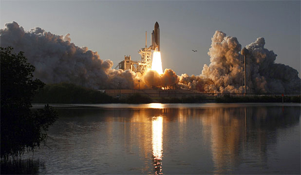 BLAST OFF: Space shuttle Discovery lifts off from the Kennedy Space Center in Cape Canaveral, Florida, in February.