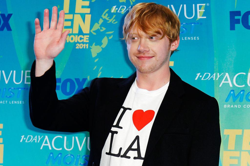 HELLO THERE: British actor Rupert Grint poses arrives at the Teen Choice Awards in Los Angeles.
