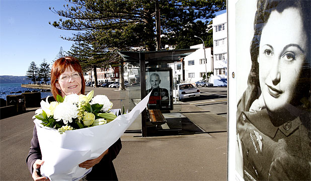CITY'S TRIBUTE: Wellington  Mayor Celia Wade-Brown takes  flowers to the  Nancy Wake memorial at Oriental Bay.