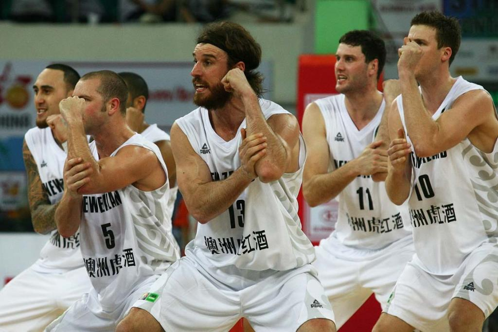 The Tall Blacks perform the haka before their game with hosts China.