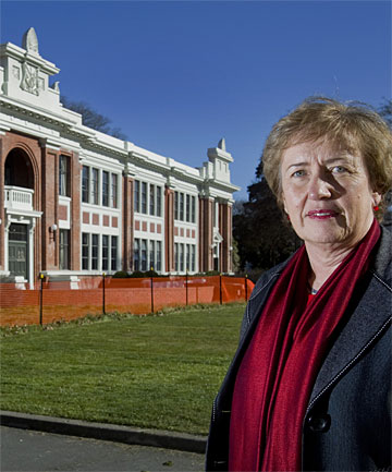 FAREWELL SCHEDULED: Avonside Girls' High  principal Sue Hume says the main block of the school has shifted on its piles and will have to be demolished.