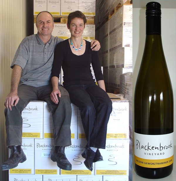 Daniel and Ursula in the storeroom at the Nelson winery