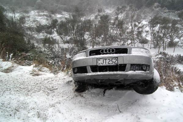 Audi stuck in snow
