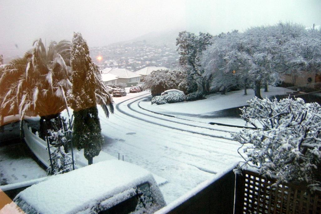 Kandy Crescent in Ngaio under a thick coating of snow on Sunday.