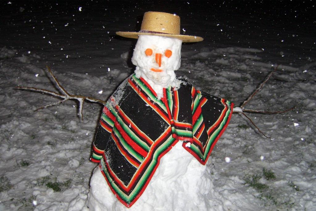 A chilean snowman created after Sunday's flurry.