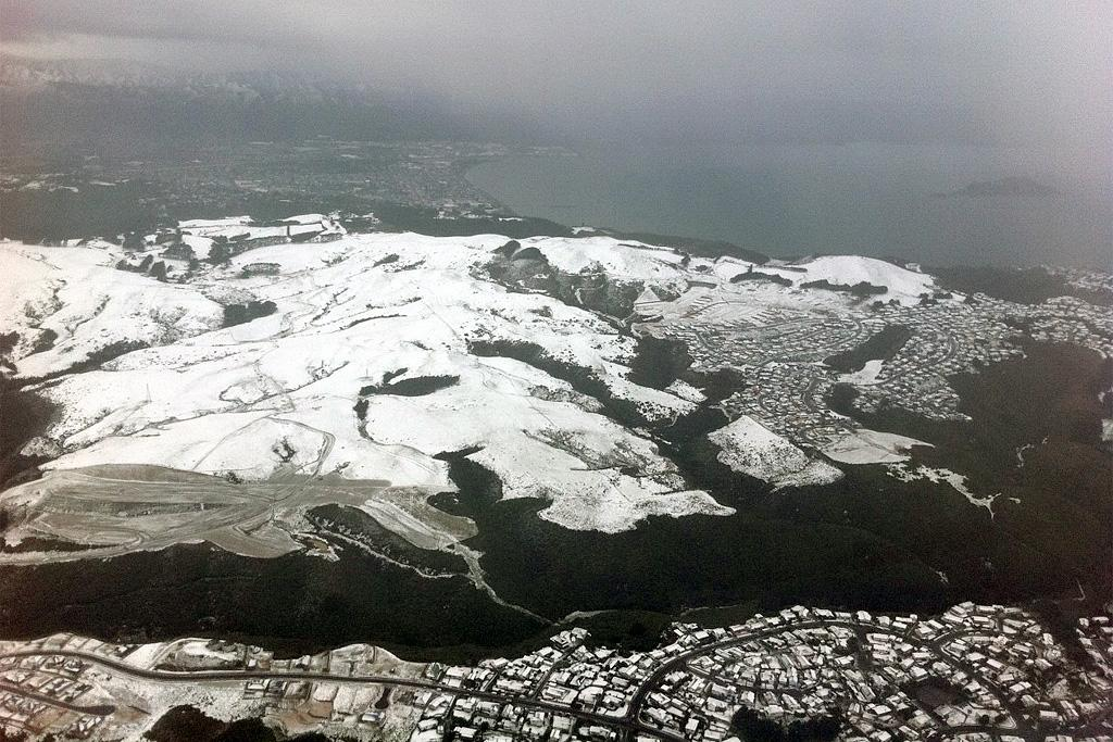 An aerial view of Newlands rise after heavy snowfall.