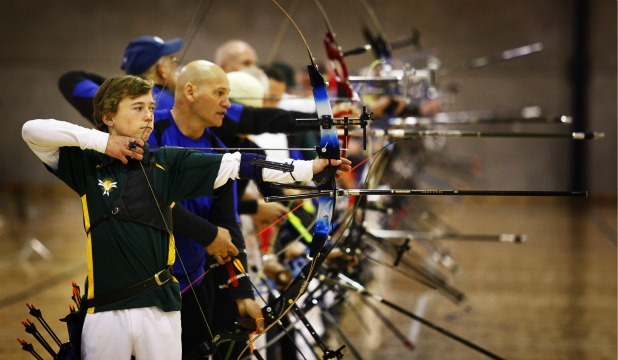 Tauranga 15-year-old Mykel Turner held up one end of the gallery of archers at the New Zealand indoor championships at Arena Manawatu.