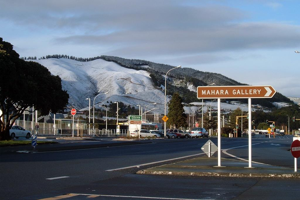 The Waikanae town centre after an overnight dusting of snow.